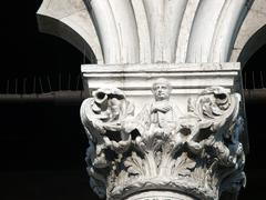 Venice - the unique beauty of the capitals of the columns of the ducal palace Stock Photos