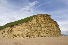 Sandstone cliffs at West Bay, Jurassic Coast, UNESCO World Heritage Site, - stock photo