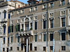 Venice - exquisite antique buildings along canal grande Stock Photos
