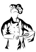 Chef holding a bowl Stock Illustration