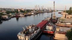 Ship in harbor, Kherson, Ukraine Stock Footage