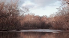 Wide shot of a river in fall Stock Footage