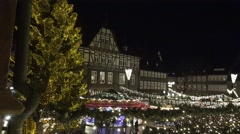 4k Christmas market overview from upper position panning Stock Footage