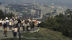 Budapest 1983: visitors watching the cityscape Stock Footage