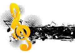 grunge music background - stock illustration