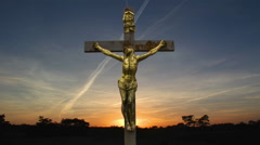 Jesus Cross Crucifiction TimeLaps. The Risen Christ Stock Footage
