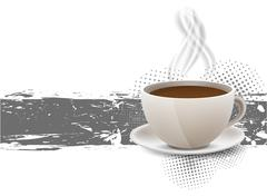 grunge background with coffe cup - stock illustration