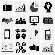 Business icon set (flat design)  (bag,bar chart,pictogram,pie-chart,positive Stock Illustration