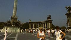 Budapest 1983: visitors at Hosok tere (Heroes' Square) Stock Footage