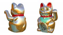 Oriental waving cat - stock footage