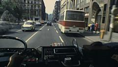 Budapest 1983: driving in the street of the city - stock footage