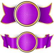 Violet round frame with ribbon Stock Illustration