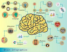 Brain infographics (brain function : creative,mathematics,science,emotion,mus Piirros