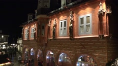 4k Christmas market in small ancient city village panning overview Stock Footage