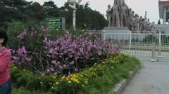 Sculpture near Mao Zedong mausoleum - stock footage