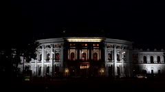 HOFBURGTHEATER 1 LS NIGHT Stock Footage