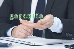 businessman offering his hand in warranty - stock photo
