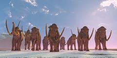 columbian mammoth herd - stock illustration