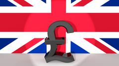 Currency symbol british pound made of dark metal in spotlight in front of bri Stock Illustration