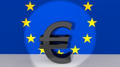 Currency symbol euro made of dark metal in spotlight in front of european fla Stock Illustration