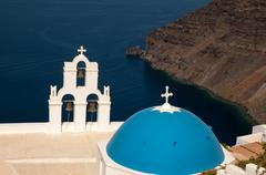 agios theodori church in fira, santorini, greece - stock photo