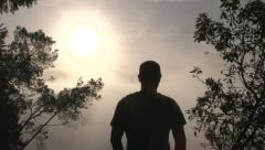 Person Looking Out Over Heavenly View 1 Stock Footage