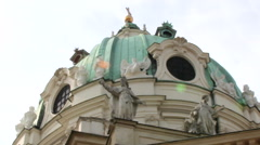 ST. CHARLES'S CHURCH KARLSKIRCHE 6 CU PAN OUTSIDE Stock Footage