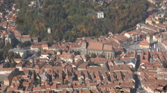 Zoom in Black church Brasov old town Transylvania landmark day iconic view icon  Stock Footage