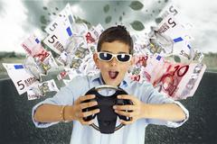young man driving in the middle of the wealth - stock photo