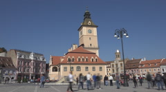 Timelapse Sfatului Square Brasov downtown busy pedestrian people travel day old  Stock Footage