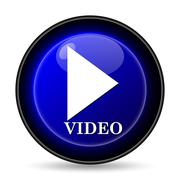 video play icon. internet button on white background.. - stock illustration