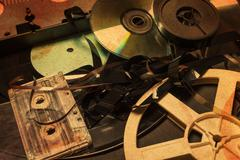 Collection of retro audio and video tapes. Stock Photos