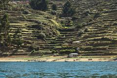 shoreline of isla del sol in lake titicaca, bolivia - stock photo