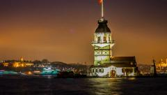 Stock Video Footage of Maiden's Tower timelapse at night in Istanbul Turkey 2014