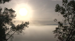 Solar Cloud Over Heavenly Forest Fog Stock Footage