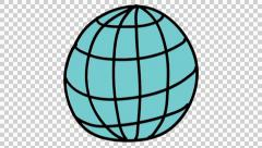 World ball icon cartoon illustration hand drawn animation transparent Stock Footage