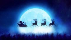 Santa with reindeer flying over the moon- Christmas concept Stock Footage