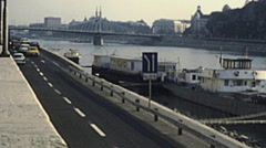 Budapest 1983: traffic near the Danube Stock Footage