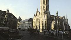 Budapest 1983: visitors in front of Matthias church Stock Footage