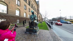A sculpture of Hans Christian Andersen Stock Footage