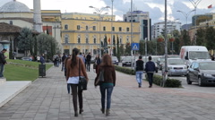 Scenderbey Square is the main plaza of Tirane, Albania Stock Footage
