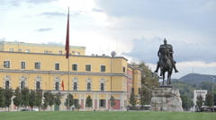 Scanderbey  Monument in Tirane Square.  Albania - stock footage
