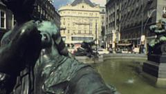 Vienna 1983: Donner fountain in Kartner Strasse Stock Footage