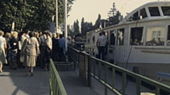 Balaton 1983: tourist entering a boat Stock Footage
