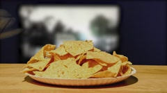Corn Chips And TV Time Lapse Stock Footage