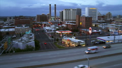 City of Spokane at Dusk Stock Footage