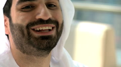 UAE Arabic businessman male beard office coffee property real estate development - stock footage