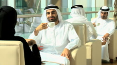 Emirati male business colleagues meeting coffee downtown oil financial - stock footage