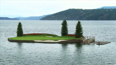 The Floating Green in Coeur D'Alene - stock footage