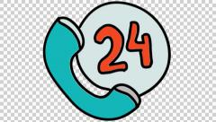 Calling 24 hours icon cartoon illustration hand drawn animation transparent Stock Footage